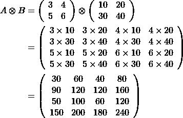 \[\begin{split} A\otimes B &= \left( \begin{array}{cc} 3&4 \\ 5&6\\ \end{array} \right) \otimes  \left( \begin{array}{cc} 10&20 \\ 30&40\\ \end{array} \right) \\&= \left( \begin{array}{cccc} 3 \times 10&3 \times 20 &4\times 10&4 \times 20 \\ 3 \times 30&3 \times 40 &4\times 30&4 \times 40 \\ 5 \times 10 & 5 \times 20 &6\times 10&6 \times 20 \\5 \times 30&5 \times 40 &6\times 30&6 \times 40 \end{array} \right) \\&=  \left( \begin{array}{cccc} 30&60&40&80 \\ 90&120&120&160 \\ 50&100&60&120 \\150&200 &180&240 \end{array} \right)\end{split}\]